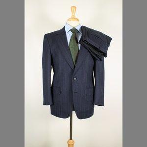 Burberry 40S 34x29 Pleat Blue Suit 97-Q